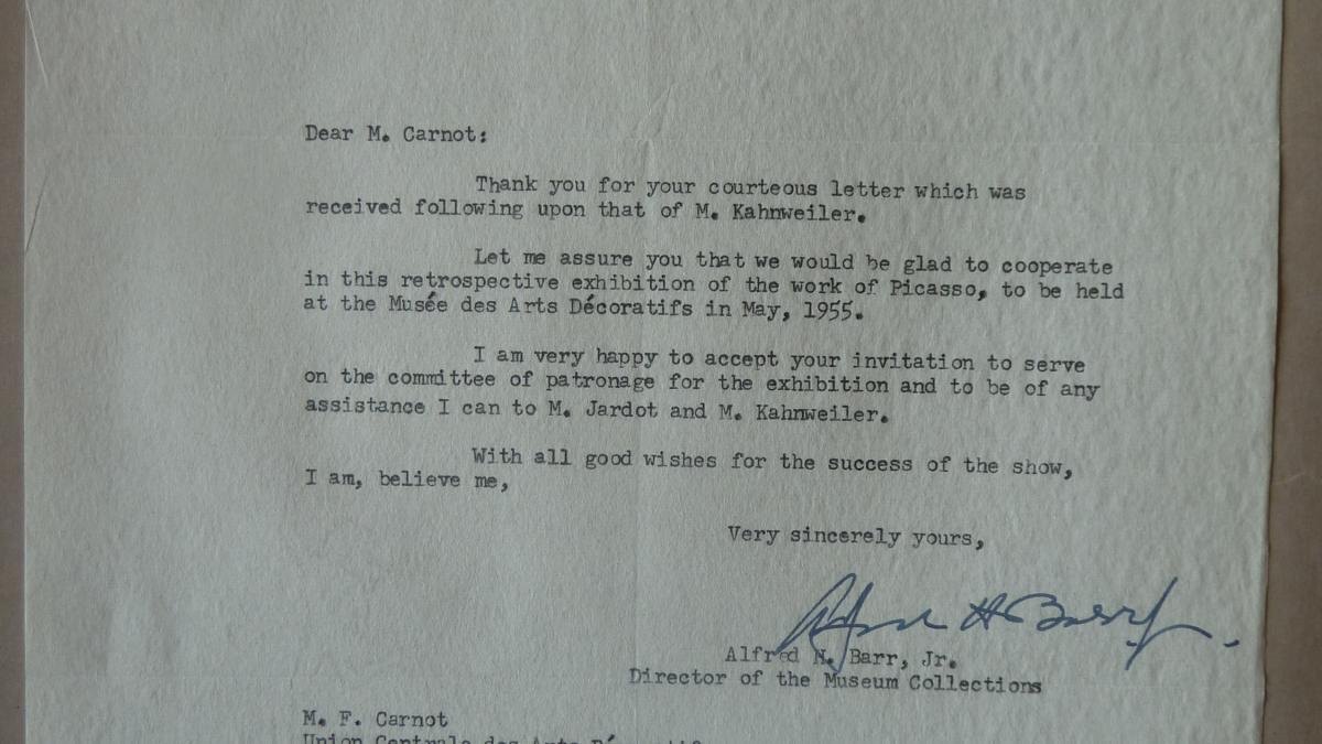 Carta de Alfred H. Barr Jr. a François Carnot