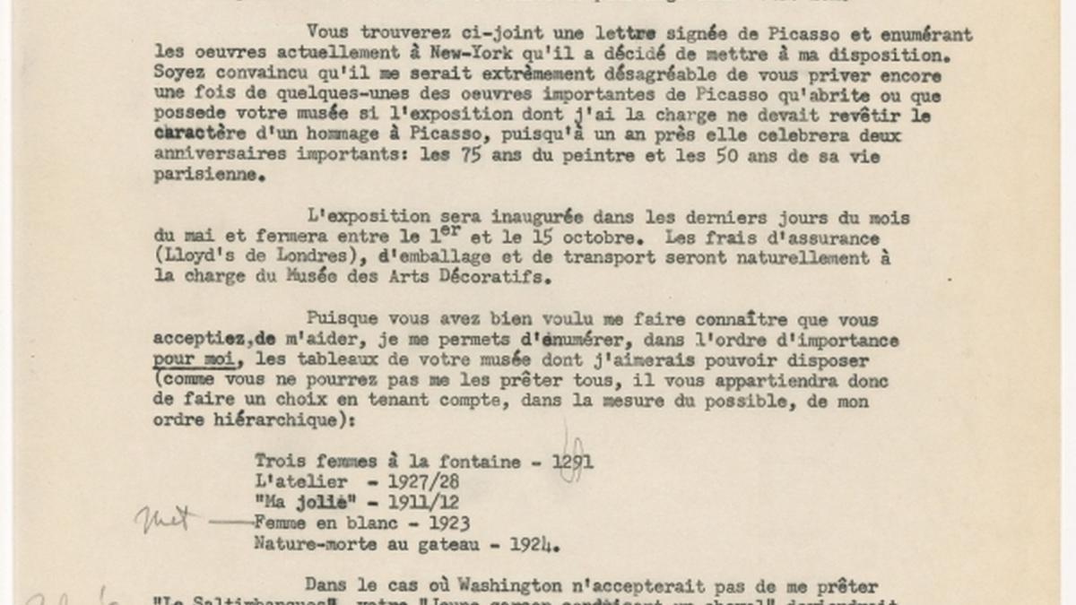 Maurice Jardot's letter to Alfred H. Barr Jr.