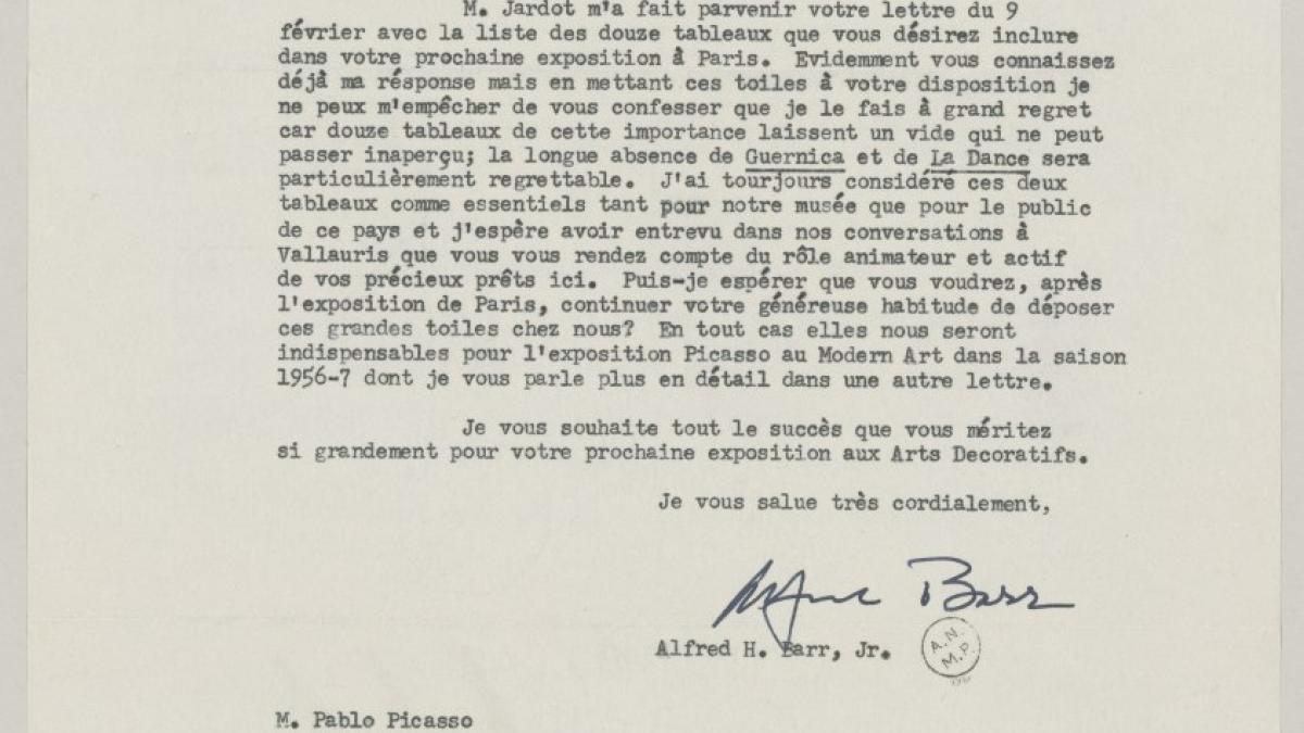 Carta de Alfred H. Barr Jr. a Pablo Picasso del 10 de marzo 1955
