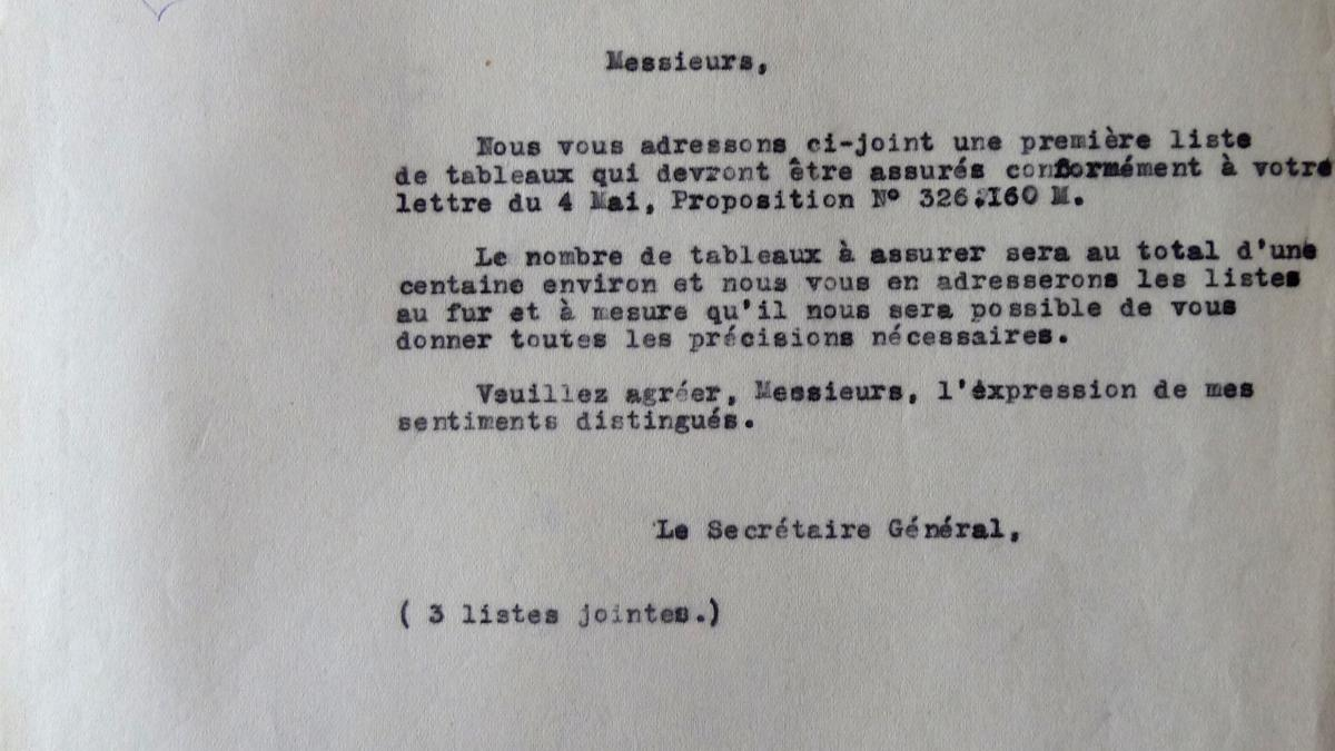 A letter from the general secretary of Les Arts Décoratifs to the insurance company L'Union