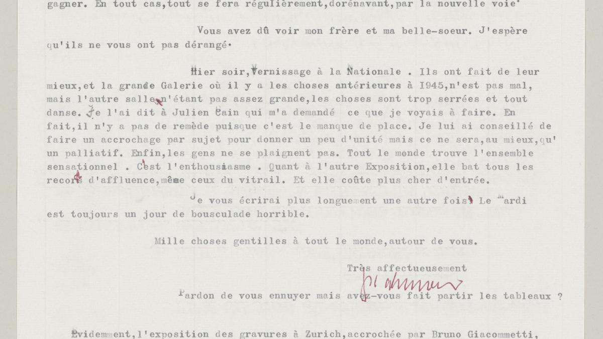 Daniel-Henry Kahnweiler's letter to Pablo Picasso, dated 14 June 1955