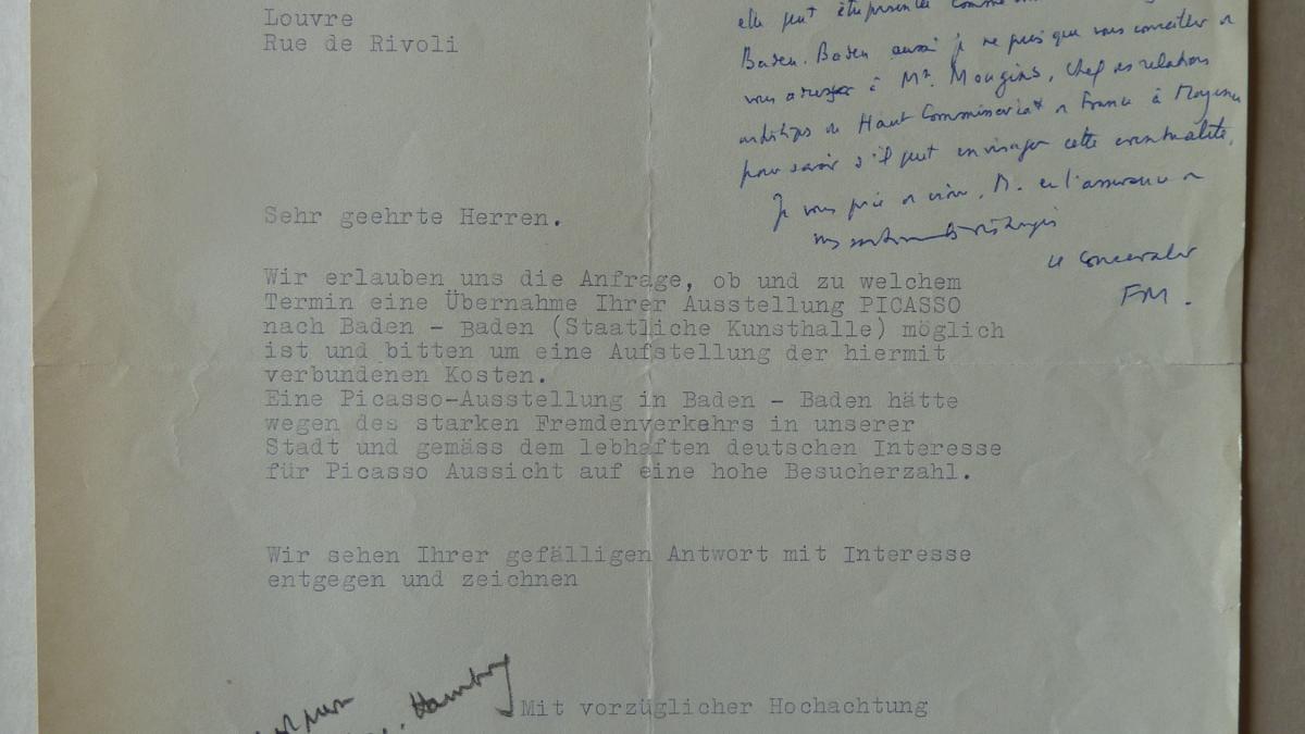 Carta de Klaus Fischer al Musée des Arts Décoratifs