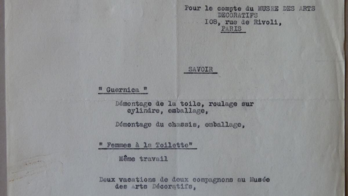 Carta de J. Malesset al Musee des Arts Décoratifs