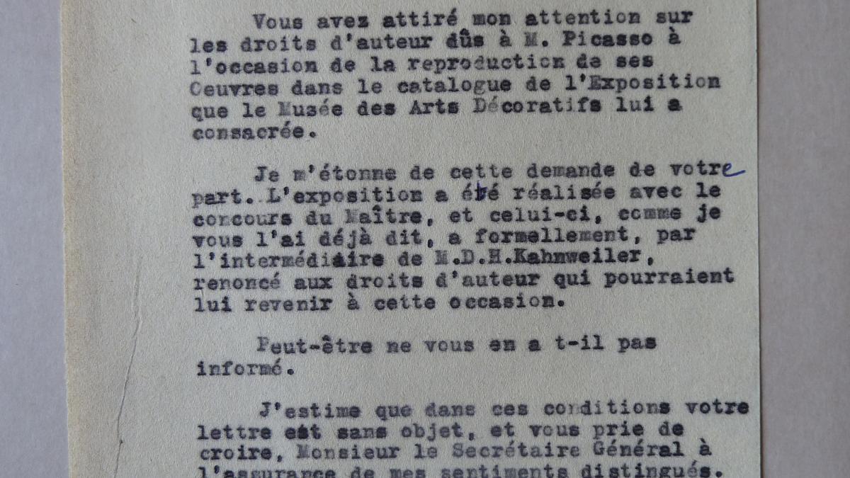 A letter from the general secretary of the Musée des Arts Décoratifs to the Société de la Propriété Artistique et des Dessins et Modèles (S.P.A.D.E.M.)