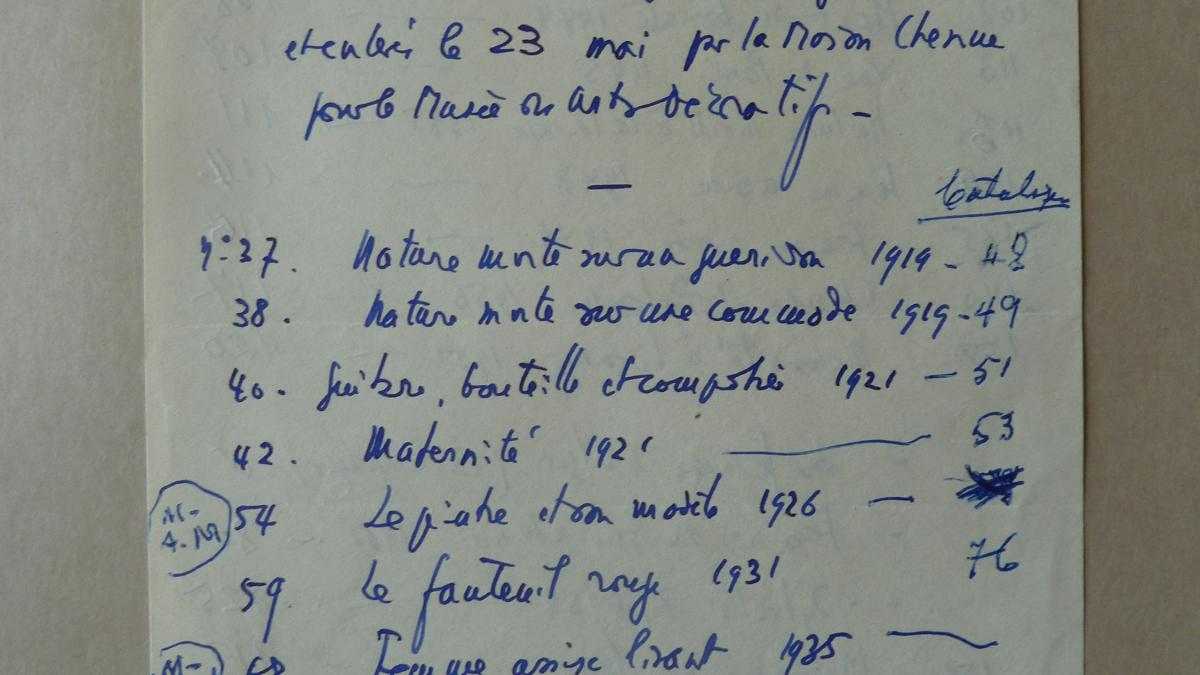 A list of Picasso's works, compiled at his house on rue des Grands-Augustins, Paris