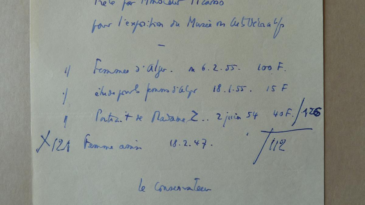 Listado con tres obras de Picasso para la exposición del Musée des Arts Décoratifs