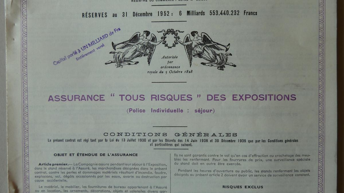 Contrato del seguro y lista de precios para las obras aseguradas enviadas al Musée des Arts Décoratifs de París