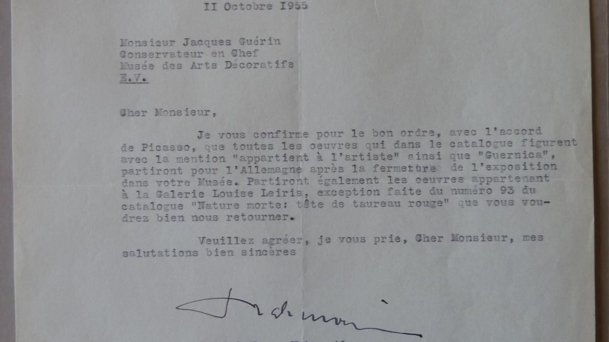 Daniel-Henry Kahnweiler's letter to Jacques Guerin