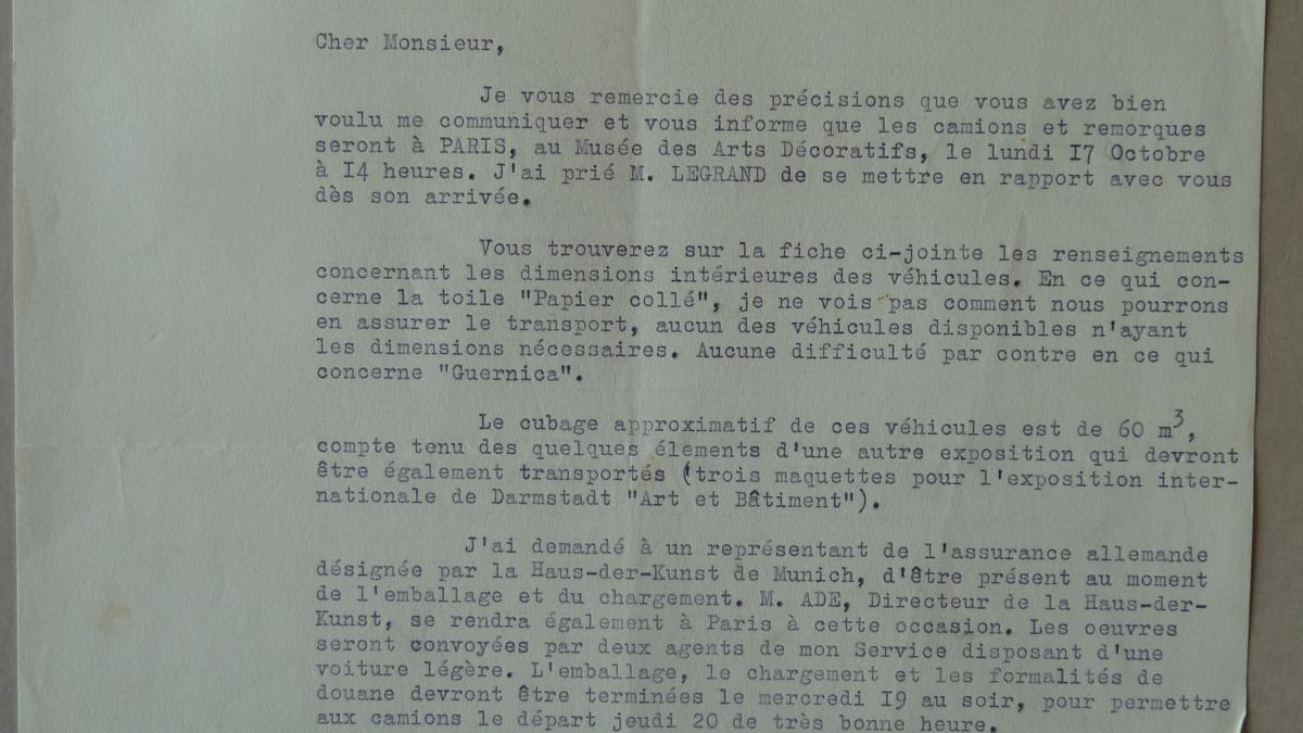 Carta de J. Mougin a François Mathey del 13 de octubre de 1955