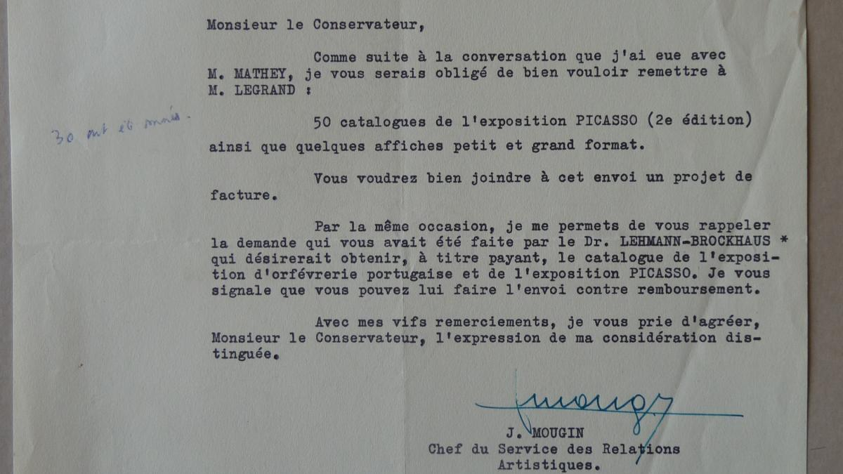 J. Mougin's letter to Jacques Guerin, dated 18 October 1955