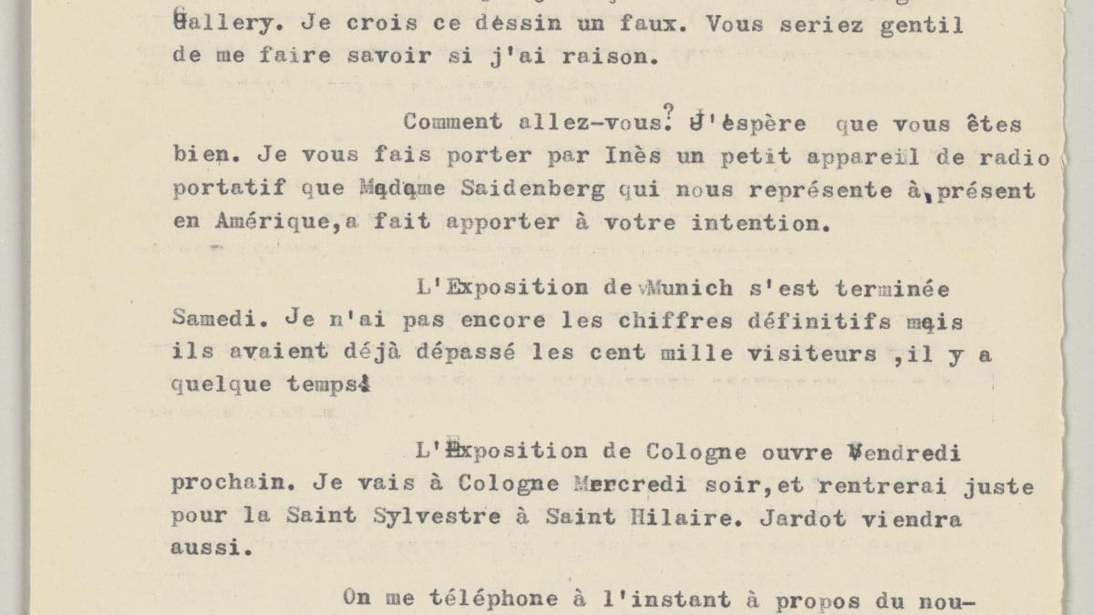 Carta de Daniel-Henry Kahnweiler a Pablo Picasso del 21 de diciembre de 1955