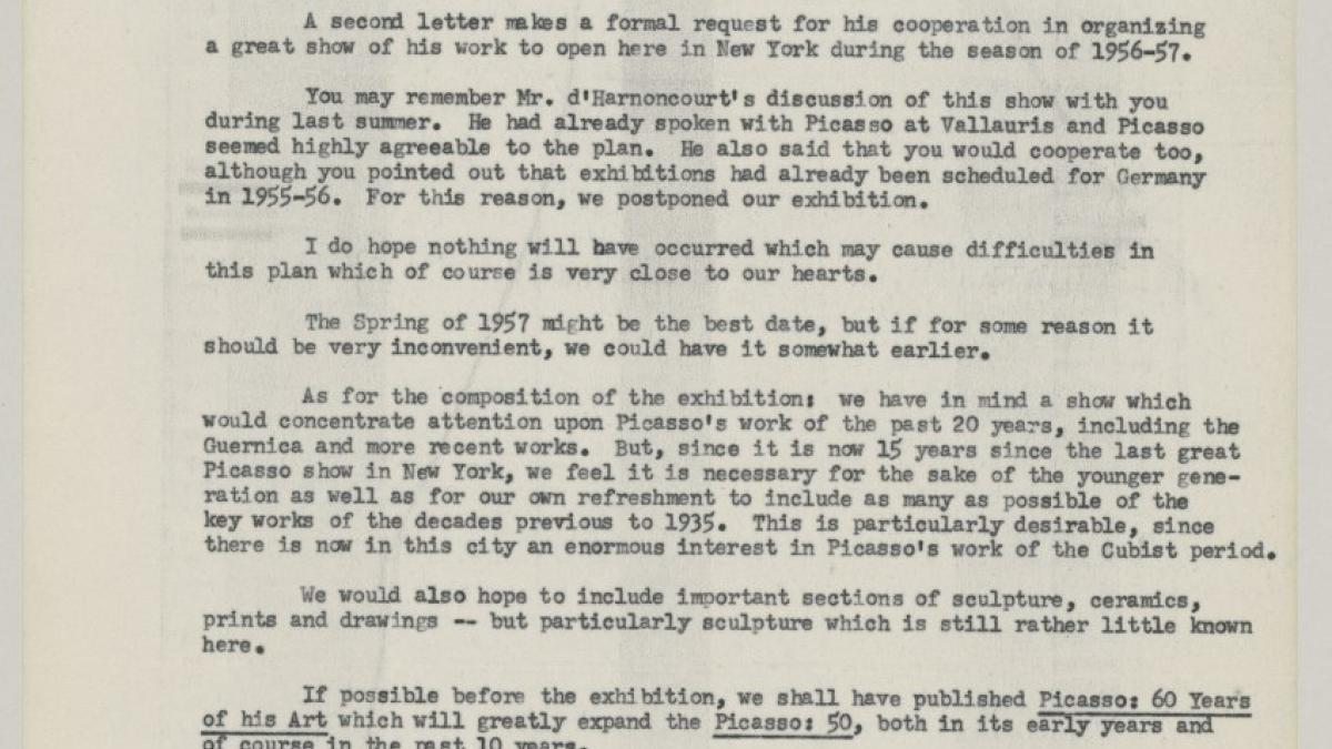 Carta de Alfred H. Barr Jr. a Daniel-Henry Kahnweiler del 11 de marzo de 1955
