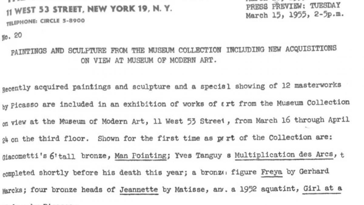 Nota de prensa del Museum of Modern Art de Nueva York sobre las nuevas adquisiciones y una exposición especial de 12 obras de Picasso