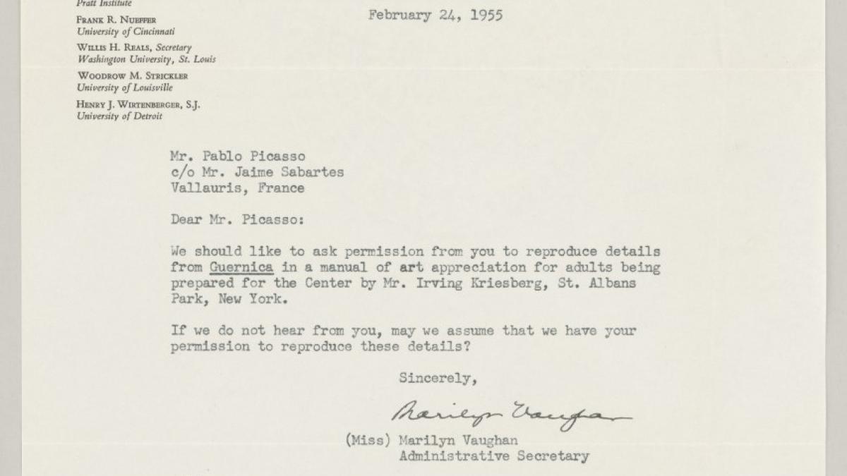 Carta de Marilyn Vaughan a Pablo Picasso
