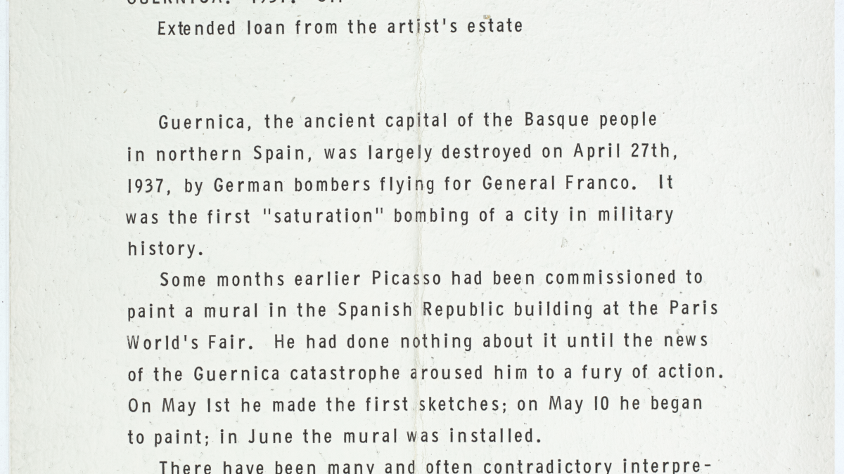 Exhibit label from the Museum of Modern Art, New York, for Guernica