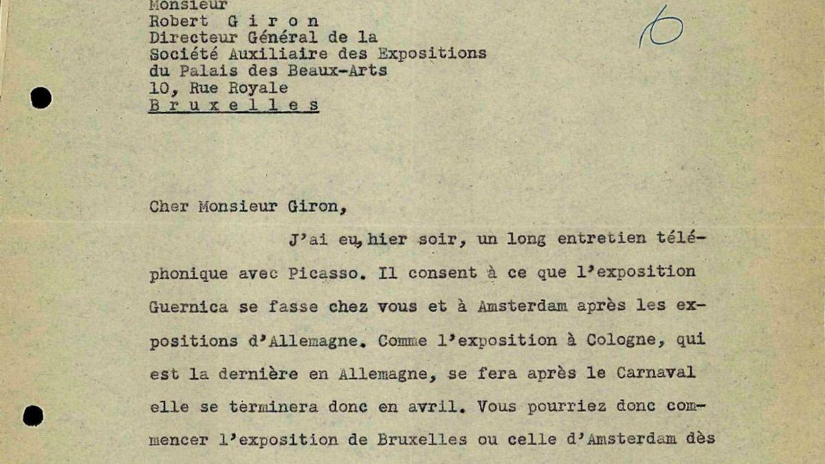 Carta de Daniel-Henry Kahnweiler a Robert Giron