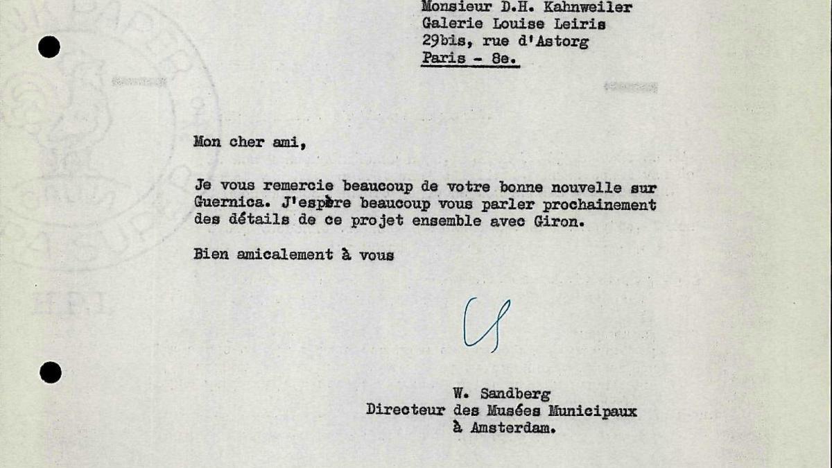 Carta de Willem Sandberg a Daniel-Henry Kahnweiler del 11 de octubre de 1955