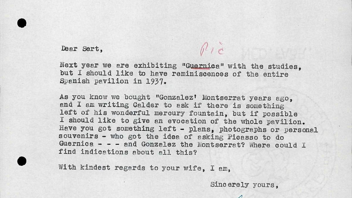 Willem Sandberg's letter to Josep Lluís Sert