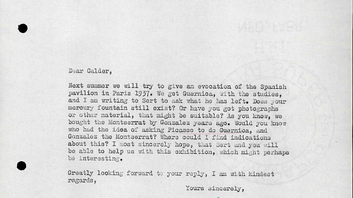 Carta de Willem Sandberg a Alexander Calder del 8 de noviembre de 1955