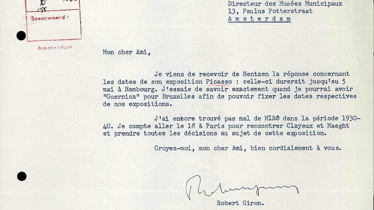 Robert Giron's letter to Willem Sandberg, dated 10 November 1955