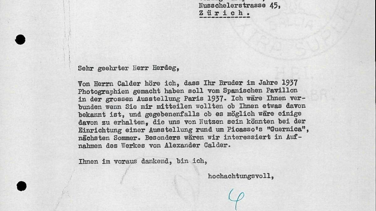 Carta de Willem Sandberg a Walter Herdeg