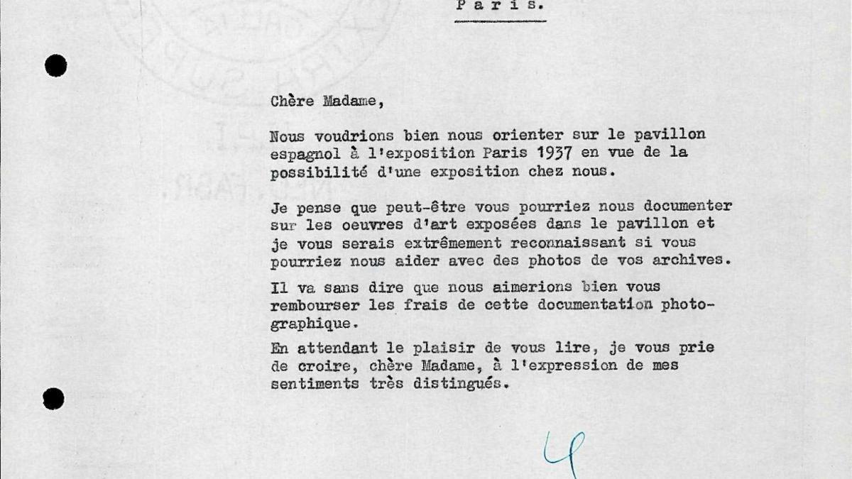 Carta de Willem Sandberg a Dora Maar del 3 de diciembre de 1955