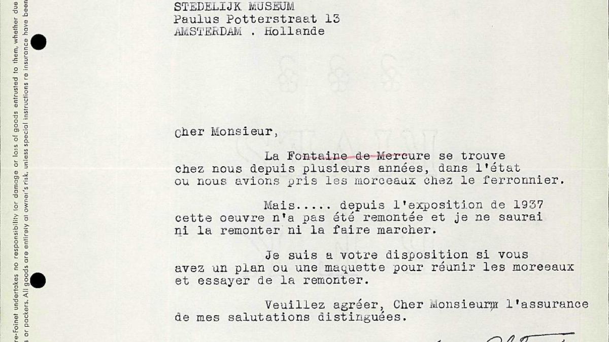 Carta de Maurice Lefebvre-Foinet a Willem Sandberg