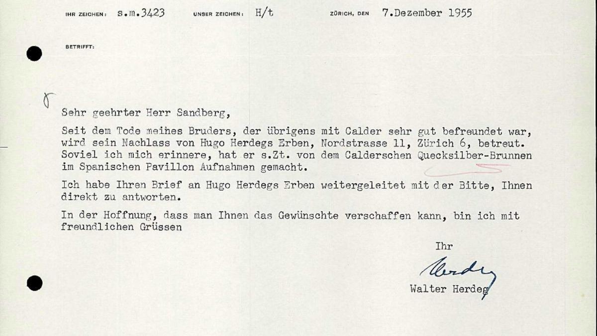 Carta de Walter Herdeg a Willem Sandberg