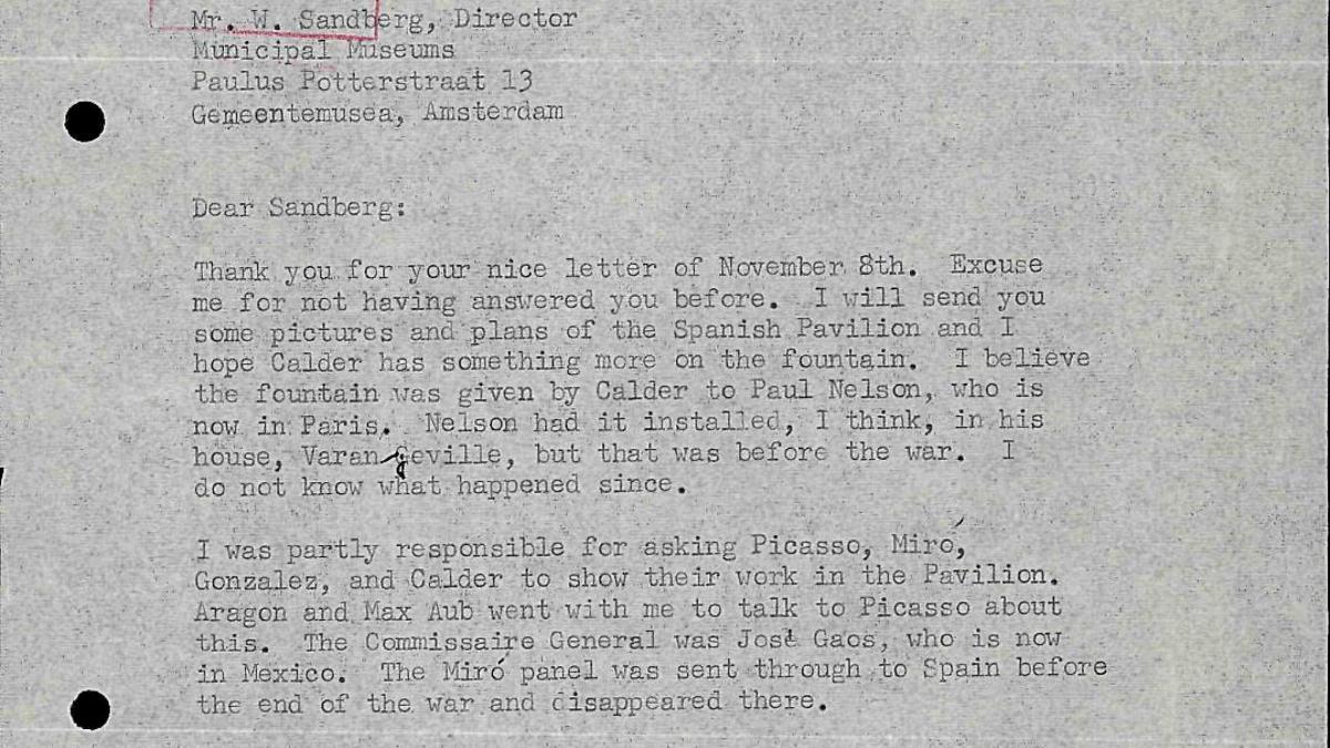 Carta de Josep Lluís Sert a Willem Sandberg