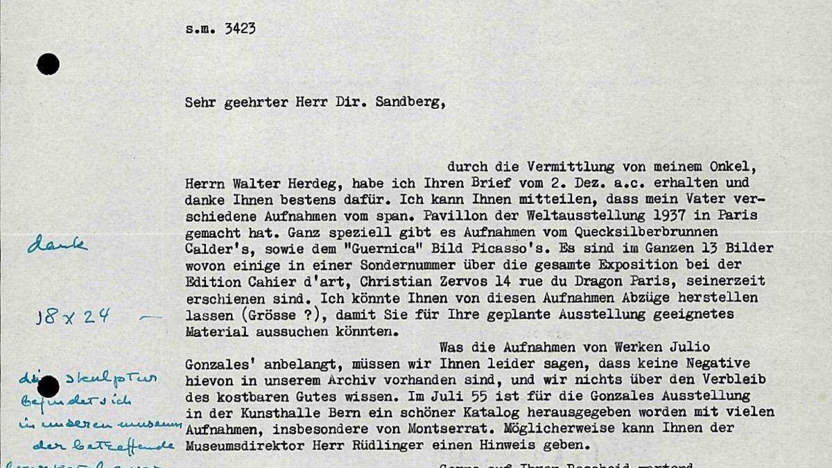 Carta de Klaus Herdeg a Willem Sandberg
