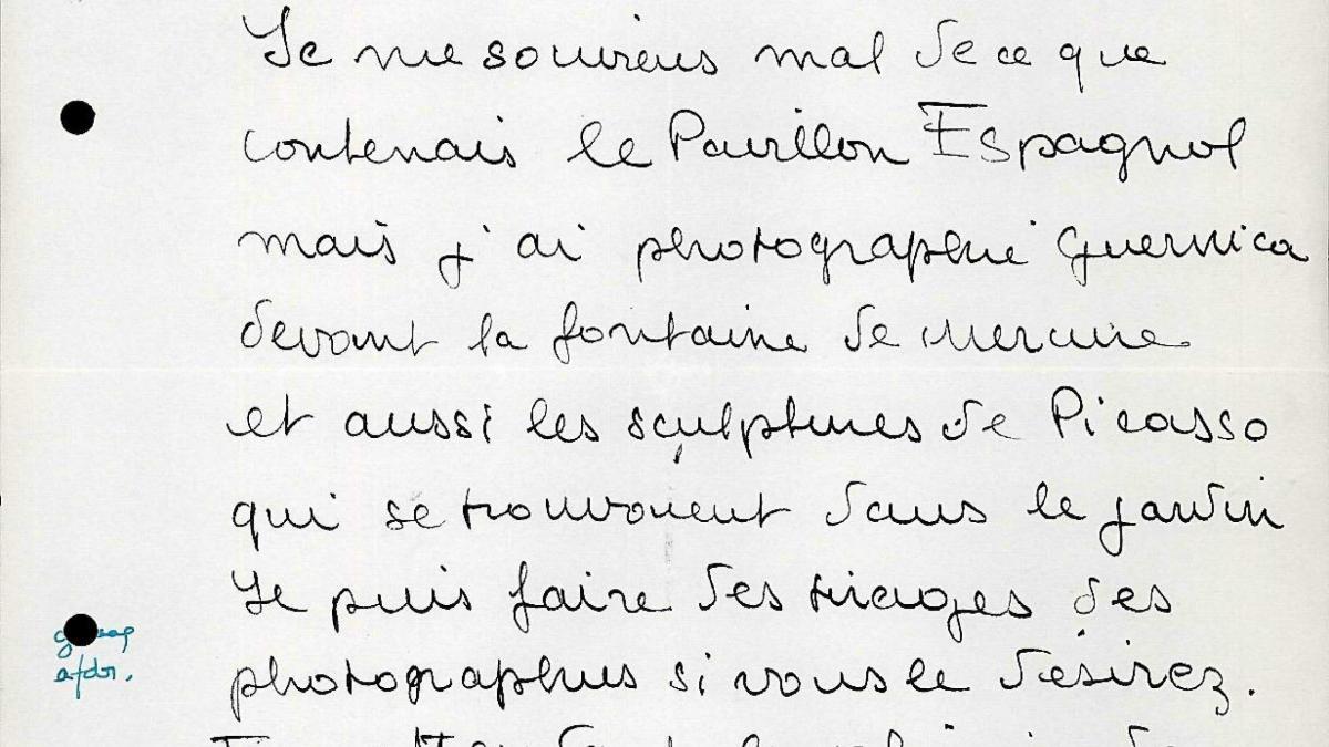Dora Maar's letter to Willem Sandberg
