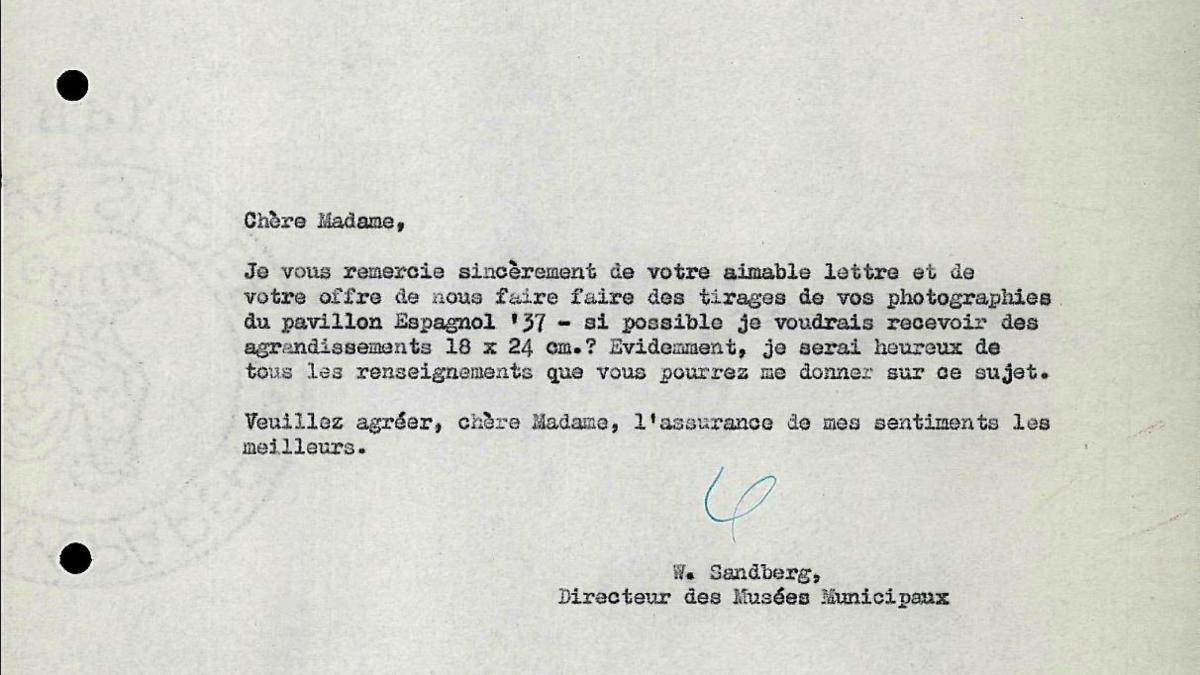 Carta de Willem Sandberg a Dora Maar del 16 de diciembre de 1955