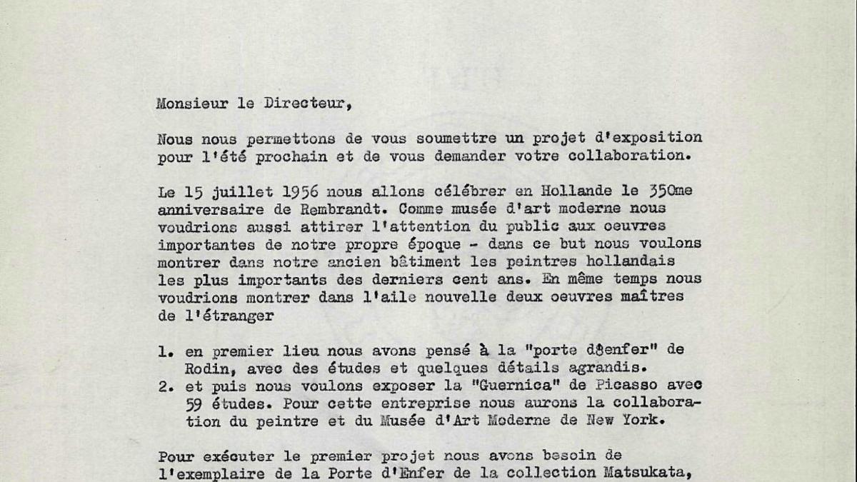 Carta de Willem Sandberg a l'Association Française d'Action Artistique