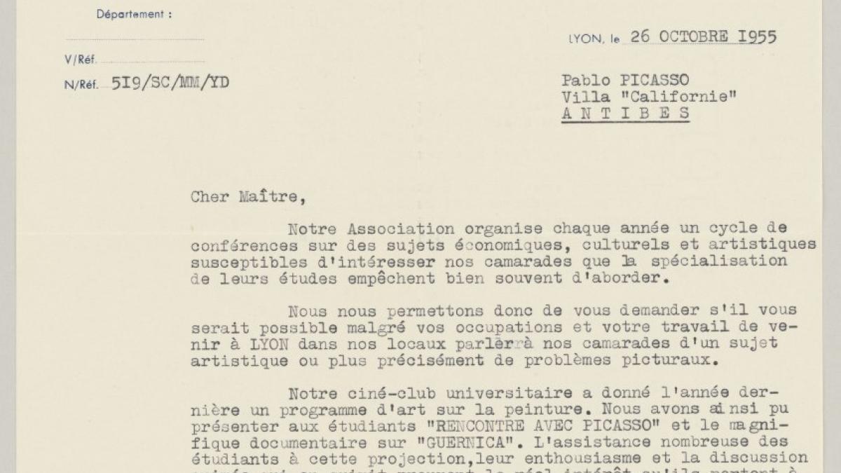 Carta de M. Mallez a Pablo Picasso