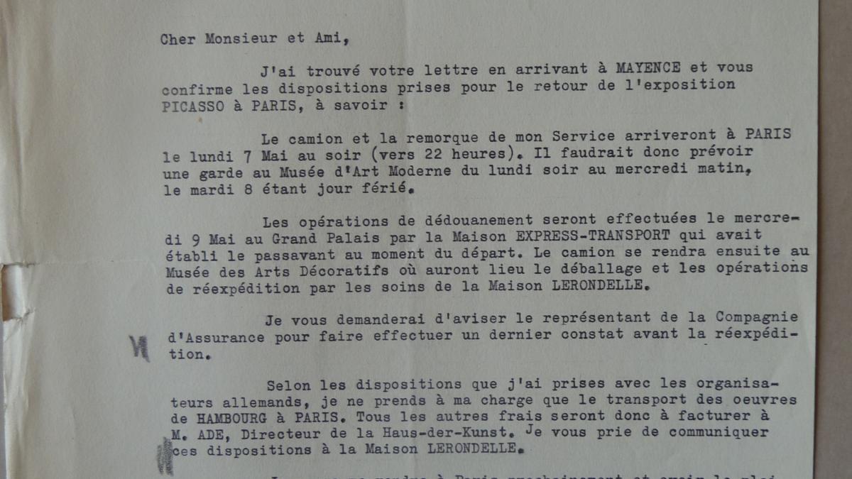 Carta de J. Mougin a François Mathey del 2 de mayo de 1956