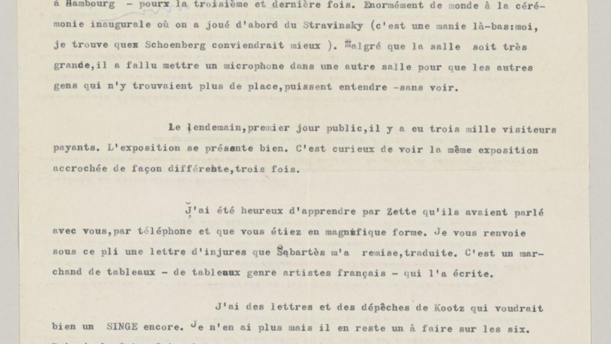 Daniel-Henry Kahnweiler's letter to Pablo Picasso, dated 14 March 1956