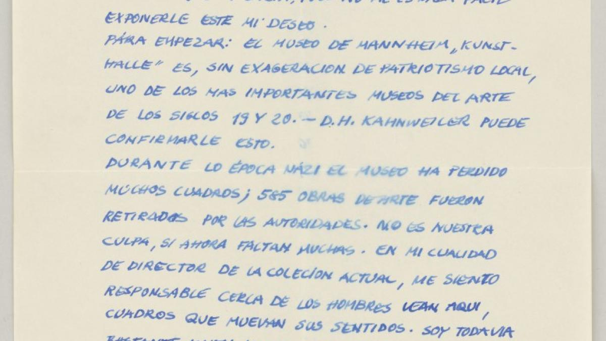 A letter from Heinz Fuchs to Pablo Picasso