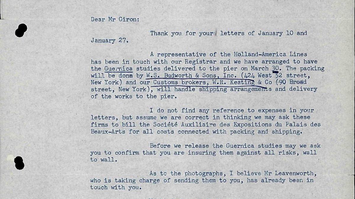 Carta de Alfred H. Barr Jr. a Willem Sandberg