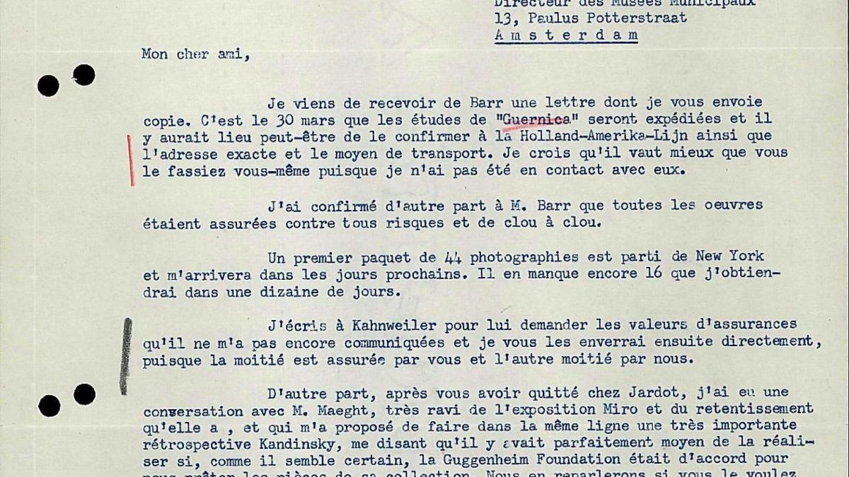 Carta de Robert Giron a Willem Sandberg del 17 de febrero de 1956