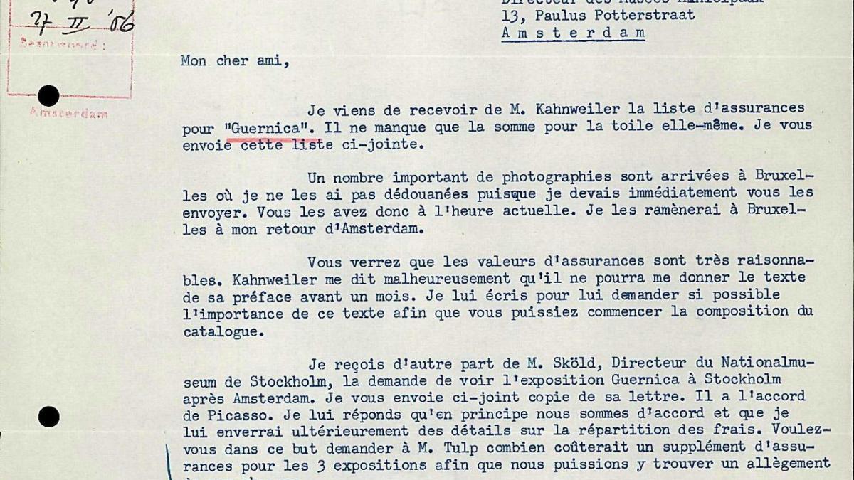 Carta de Robert Giron a Willem Sandberg del 25 de febrero de 1956
