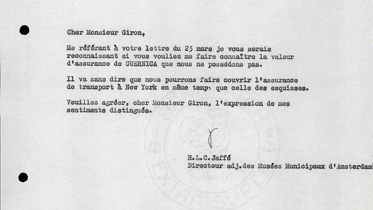 A letter from Hans Ludwig Cohn Jaffé to Robert Giron