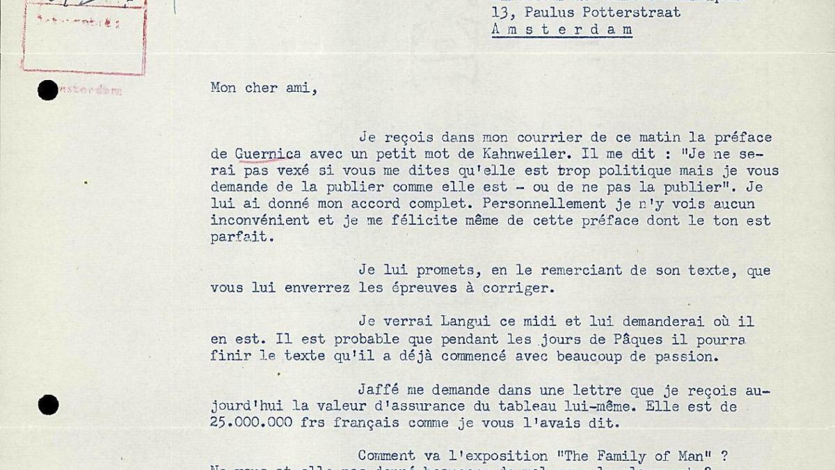 Carta de Robert Giron a Willem Sandberg del 28 de marzo de 1956