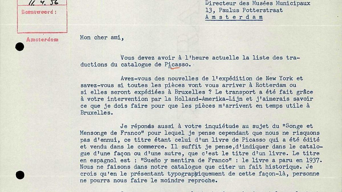 Carta de Robert Giron a Willem Sandberg del 10 de abril de 1956