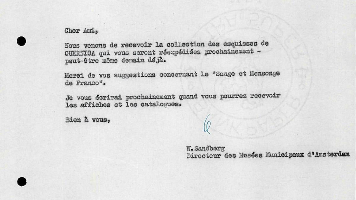 Carta de Willem Sandberg a Robert Giron del 11 de abril de 1956
