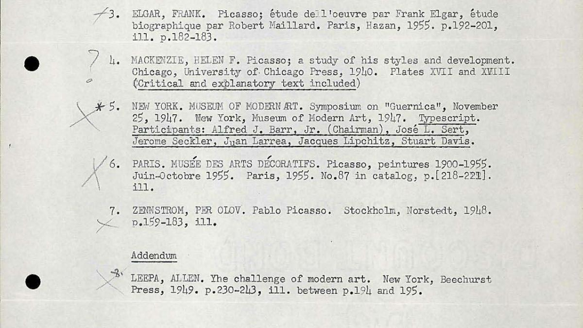 Document with a bibliography on Guernica