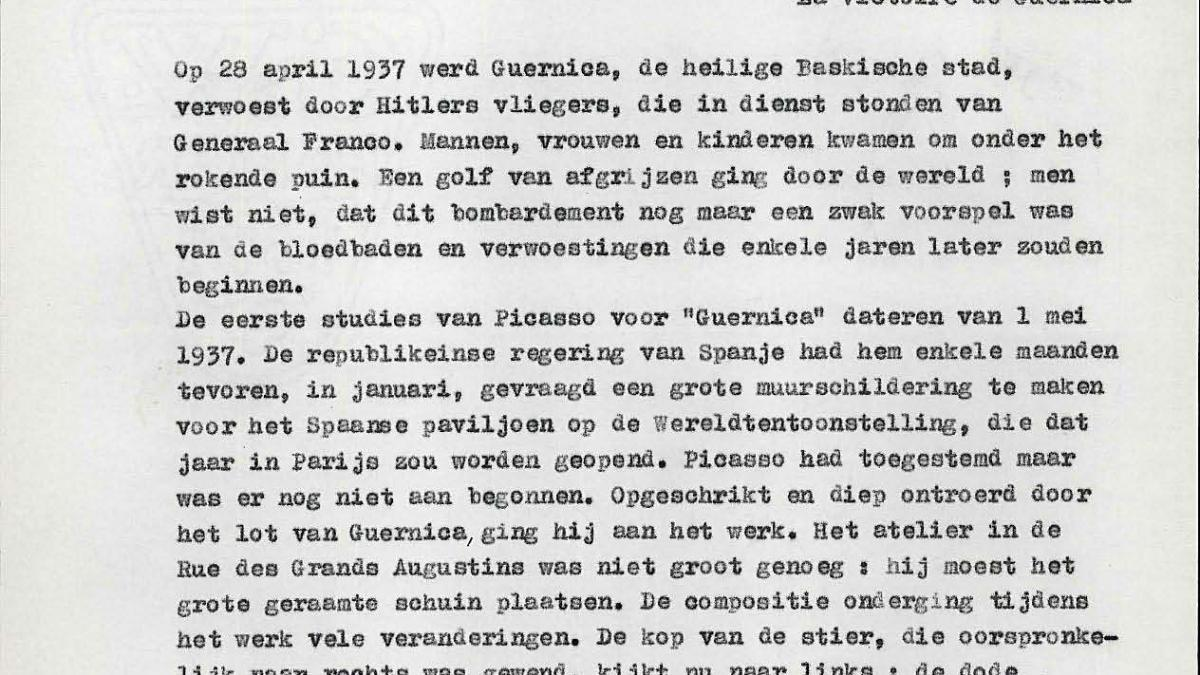 Text by Kahnweiler for the exhibition catalogue Guernica, avec 60 études