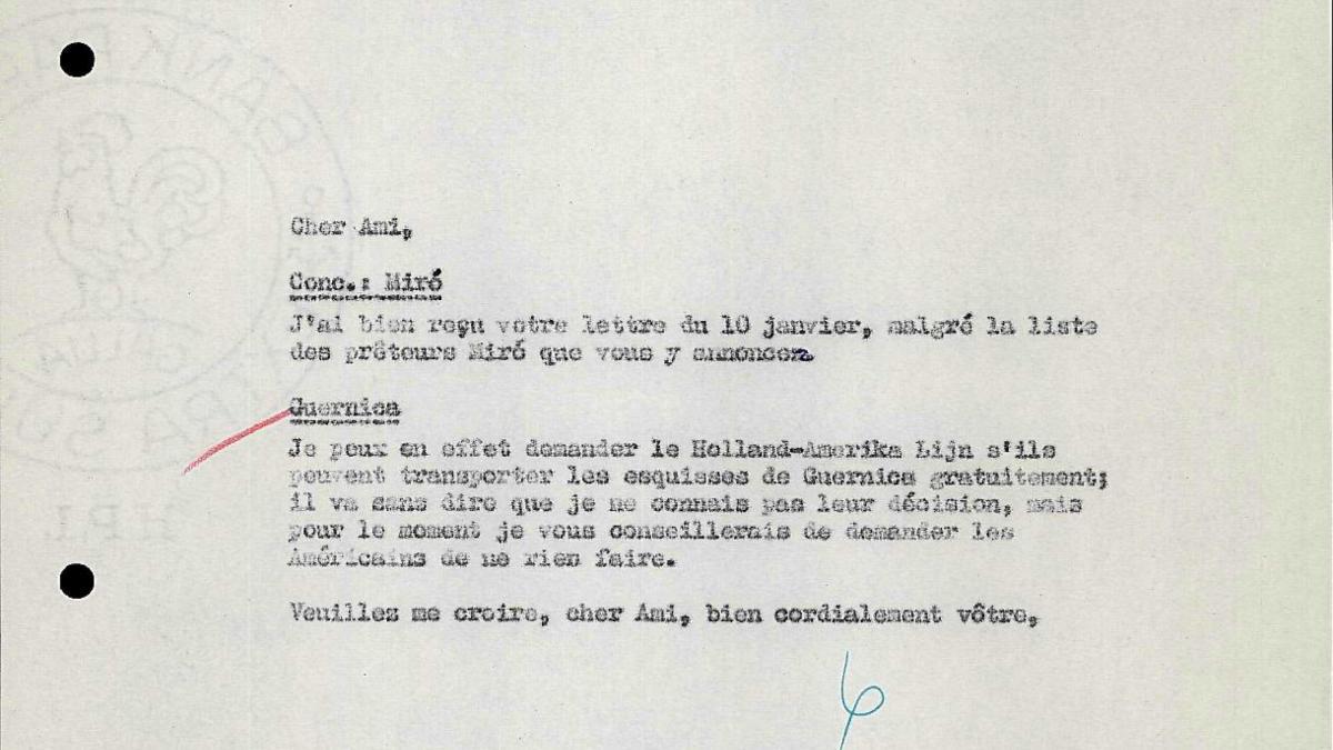 Carta de Willem Sandberg a Robert Giron del 11 de enero de 1956
