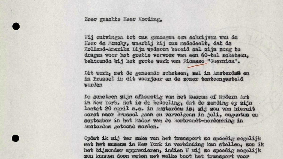 Carta de Hans Ludwig Cohn Jaffé a Holland-Amerika Lijn
