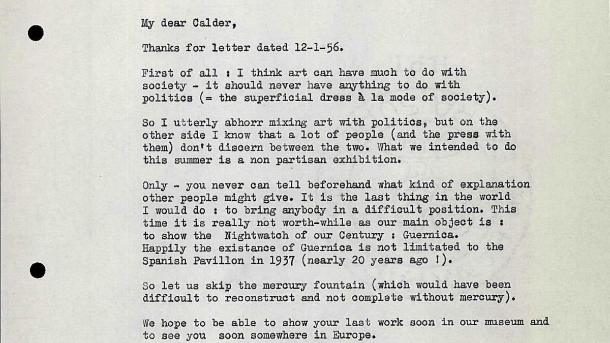 Carta de Willem Sandberg a Alexander Calder del 23 de enero de 1956