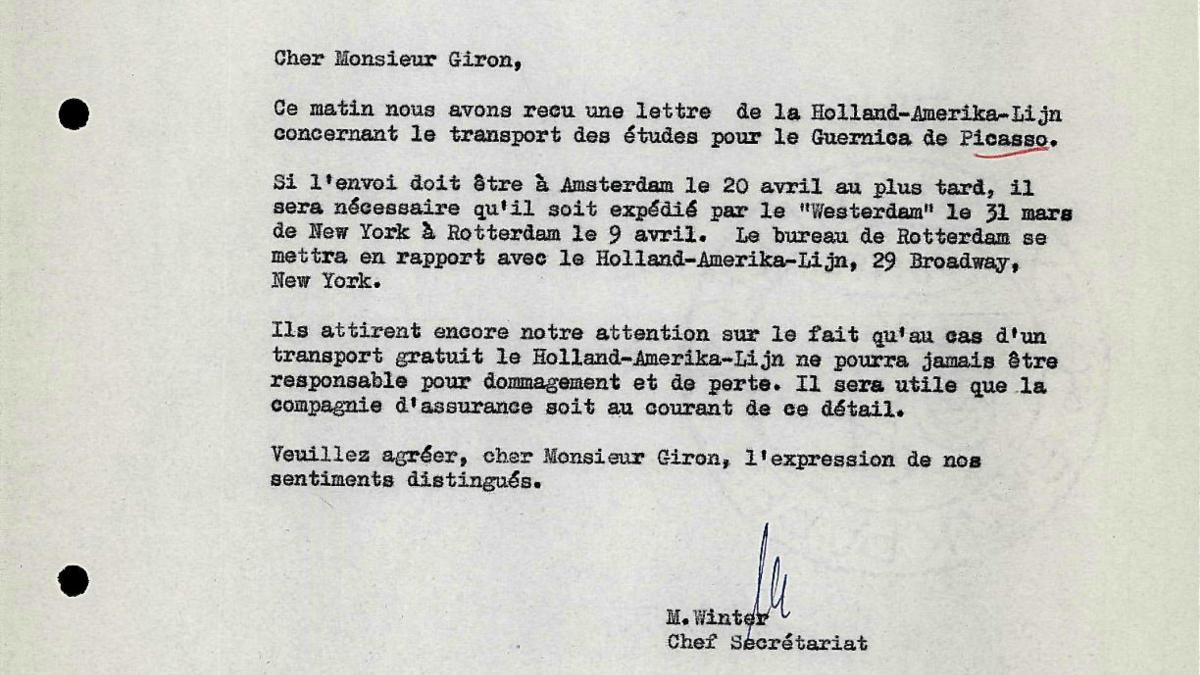 Carta de M. Winter a Robert Giron del 25 de enero de 1956